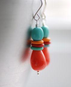 orange   turquoise earrings http://findanswerhere.com/jewerly