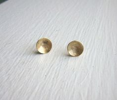 7.5mm Gold Brass Dome Stud Earrings round brass by VirginiaWynne