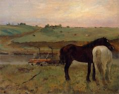 chasingtailfeathers: Edgar Degas - Horses in a Meadow, 1871 National Gallery of Art, Washingon, DC Saw this in person 😊 Edgar Degas, Edouard Manet, Pierre Auguste Renoir, National Gallery Of Art, Art Gallery, Illustrations, Illustration Art, Art Français, Art Ancien