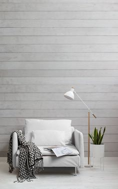 Neutral Wood Wall Mural, a made to measure cream wood panel wallpaper that will allow you to achieve a scandi theme. Neutral Wallpaper, Interior Wallpaper, Wood Wallpaper, Scandinavian Wallpaper, Scandinavian Interior Design, New Living Room, Living Room Decor, Minimalist Decor, Bedroom Wall
