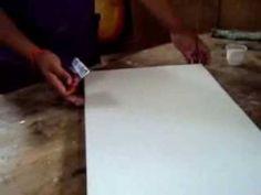 Como Imprimar o como preparar un lienzo. listo para pintar con cualquier tipo de pintura-.. aki te dejo el link de como tenzar un lienzo http://www.youtube.c...