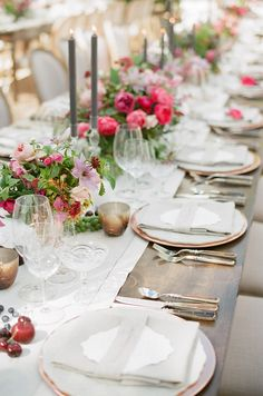Copper Chargers, Amalfi Lace China, Bone Flatware, Crystal coupes - the ARK event rentals