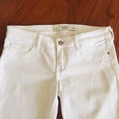 """White Distressed Abercrombie and Fitch Jeans Inseam 27"""".  Feature distressed details.  Measurements available upon request.     Bundle and SAVE!   20% off 3 or more items   NO TRADES  NO PAYPAL Abercrombie & Fitch Jeans Ankle & Cropped"""