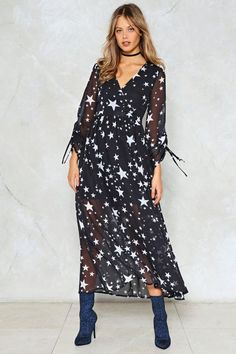 4ee2e24c6b8 Nasty Gal nastygal Whats Your Star Sign Maxi Dress Constellation Dress