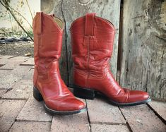 Red Cowboy Boots Women's Size 6 Cowgirl Boots, Red Leather Boots, Wonder Woman Boots #romaarellano