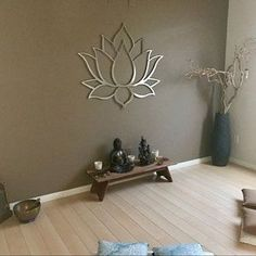 Beautiful lotus wall decor for a meditation roomYou can find Metal wall art and more on our website.Beautiful lotus wall decor for a meditation room Modern Metal Wall Art, Outdoor Metal Wall Art, Large Metal Wall Art, Metal Art, Painting Metal, Meditation Raumdekor, Meditation Room Decor, Yoga Room Decor, Home Yoga Room