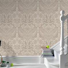 'Desire' Damask Wallpaper, Cream/Off White  Gold/Silver colour - Large Damask | eBay