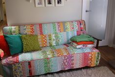 Patchwork Couch Cover   - I actually seriously LOVE this... just not for a living room.... maybe the library? or playroom? :)