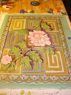 Painting It: Small Peony Floorcloth