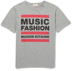 $95, MAISON KITSUNÉ Maison Kitsun Music Fashion Slim Fit Printed Cotton Jersey T Shirt. Sold by MR PORTER. Click for more info: https://lookastic.com/men/shop_items/421162/redirect
