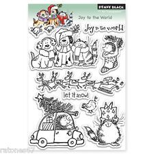 New Penny Black JOY TO THE WORLD Clear Stamps Christmas Raindeer Critters Tree