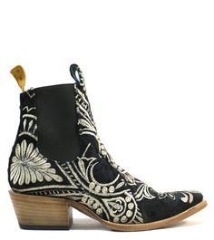 d2e0f3873d7 No.1001 FREEWAY chelsea boot- lenni the label x pskaufman... black  embroidered velvet