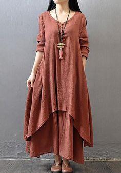 a808a83a7cd Vintage Women Long Sleeve V-Neck Irregular Maxi Dresses Maxi Dresses