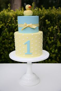 Duckie Baby Shower...i like the yellow layer with white polka dots