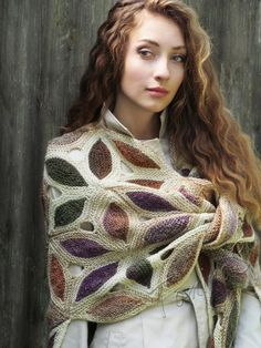 "Knit shawl ""Renaissance"" (knitted shawl, handmade wrap, knitting wool shawl…"