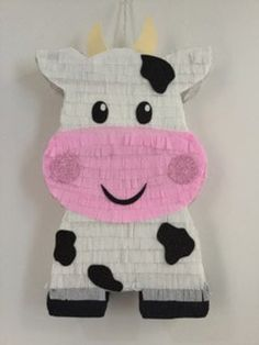 Cow pinata The pinata has its own hole for candy, Material: Cardboard. different color the paper, *** Please, The pinata is ready 4 TO 5 Farm Animal Party, Farm Animal Birthday, Barnyard Party, Cowboy Birthday, Farm Birthday, Cow Birthday Parties, Birthday Pinata, Farm Party Decorations, Birthday Decorations
