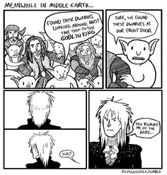 When I read and watched this part, I got all wistful and wondered how it would've played out if Jareth had been Goblin King in Middle Earth.