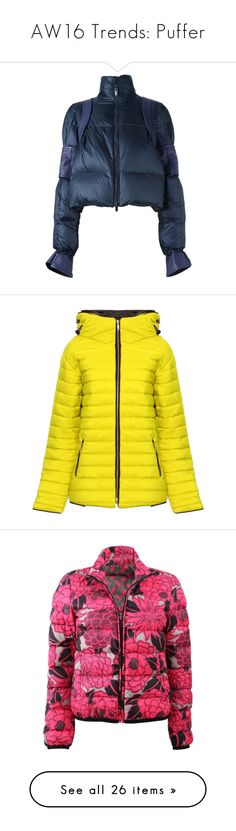 """AW16 Trends: Puffer"" by gemmonkey ❤ liked on Polyvore featuring outerwear, jackets, blue, puffa jacket, feather jackets, stand up collar leather jacket, puffy jacket, leather puffer jacket, yellow and hooded puffer jacket"