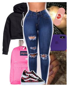 """slight."" by heeytyy ❤ liked on Polyvore featuring H&M, JanSport and Vans"