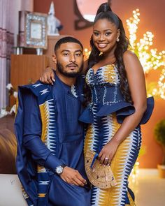 Classic Fine Art Collection By Couples African Outfits, Latest African Fashion Dresses, African Dresses For Women, African Print Fashion, Couple Outfits, African Wedding Attire, African Attire, African Traditional Wedding Dress, Ghana Traditional Wedding