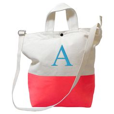 Personalised initial coral tote bag // travel in style