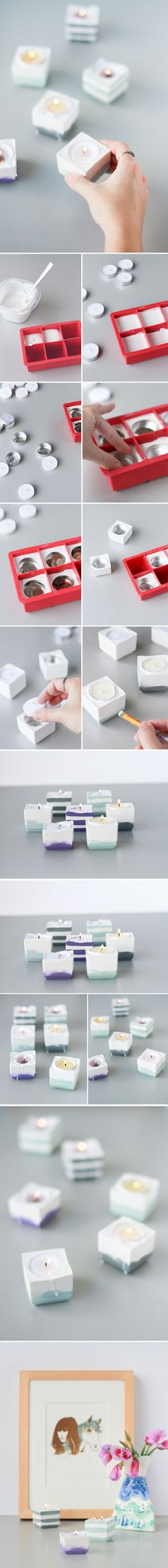 Here is a rough translation in English.   Plaster powdered (plaster of Paris?)  Water  A receptacle to mix plaster  1 spoon to mix  Square moulds of silicone   tealight  Mat acrylic paint and brush  Dull varnish
