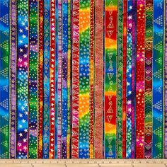 Laurel Burch Enchantment Metallic Holiday Stripe Multi Bright from @fabricdotcom  Designed by Laurel Burch for Clothworks, this cotton print fabric is perfect for quilt or craft projects, apparel and home décor accents. Colors include red, orange, yellow, green, blue, purple, pink, black and white with gold metallic accents.