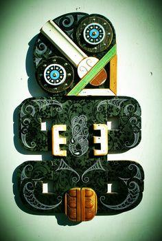 'Tiki mixed media by Tony Harrington Artist Wall, New Zealand Art, Nz Art, Maori Art, Kiwiana, Visual Arts, Graphic Designers, Graffiti Art, Installation Art