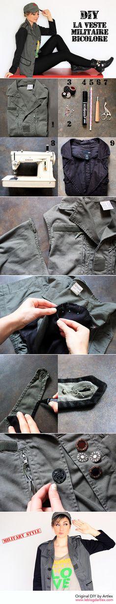 Military jacket DIY // DIY veste militaire // Blog mode et DIY Artlex