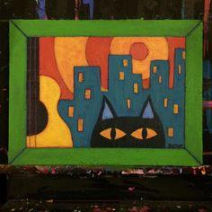 Finished! #wip #worksinprogress #catart #cats #catsandguitars #catsofinstagram #artcat #painting #bztatart