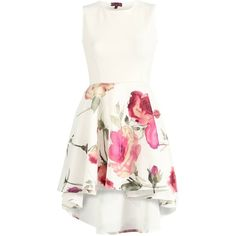 Tickle Me Pink Floral Skater Dress ($35) ❤ liked on Polyvore featuring dresses, floral dress, white hi low dress, pink skater dress, hi low dress and white sleeveless dress