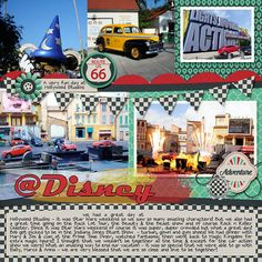 Cars at Disney – Using Down This Road Designs Route 66 kit and Scrapping with Liz Bold Doubles template