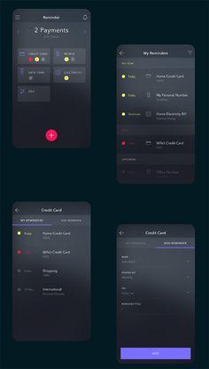 #inspiration #webdesign #mobiledesign #UI #UX #layout #iOS #design #appdesign #app dark payment reminder app