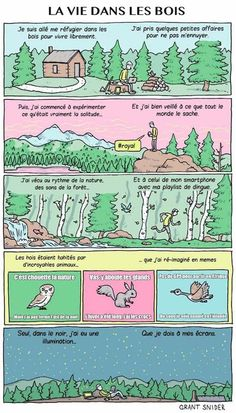 Life in the Woods in the Digital Age, Grant Snider made me laugh but also made me sad Essay About Life, Pond Life, Great Words, Getting Bored, Thought Provoking, The Great Outdoors, Hilarious, It's Funny, Funny Memes