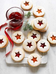 Jam Christmas Shortbread Biscuits Recipe | myfoodbook | Christmas jam biscuits