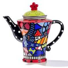Romero Britto Ceramic 'Home' Teapot with Flower on Lid & Black+White Dotty Spout & Handle ♥•♥•♥