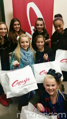 [S5E9] Maddie Ziegler, Kalani Hilliker, Brynn Rumfallo, Mackenzie Ziegler, Kendall Vertes, Jojo Siwa and Nia Frazier stopped at Capezio before the competition.