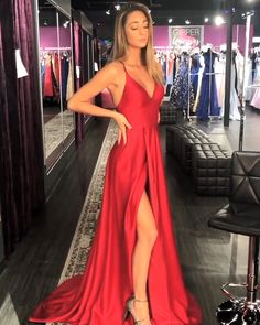 Cheap Long Prom Dresses Red, A-line V-neck Formal Evening Dresses with Slit. - 2019 Cheap Prom Dresses On Sale V Neck Prom Dresses, Grad Dresses, Formal Evening Dresses, Red Satin Prom Dress, Long Red Dresses, Dresses Dresses, Red Ball Dresses, Prom Dresses With Slits, Long Silk Dress