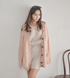 {Free Shipping} Bongjashop Light Peach Pink Pastel Cable Knit Loose Button Cardigan Sweater