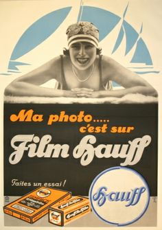 Hauff Camera Film, 1920s - original vintage poster listed on AntikBar.co.uk