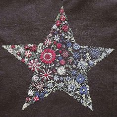 Embroidery Ideas Cazadora de inspiración: embroidered Star on sweat shirt Embroidery Applique, Cross Stitch Embroidery, Embroidery Patterns, Machine Embroidery, Bordado Popular, Sewing Crafts, Sewing Projects, Broderie Simple, Handicraft