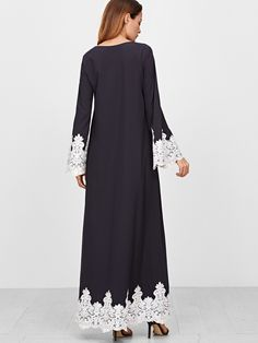 Navy Embroidered Lace Trim Maxi Dress