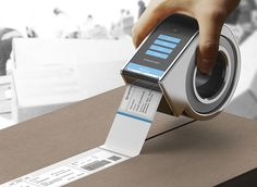 This thoughtfully designed dispenser called the Invoice Tape Printer actually allows the invoice to be printed in the form of tape directly on the box by the sender for effective protection of personal information that can easily be removed by the recipient. #Technology #Device #Tape #YankoDesign #Creativity #Innovation #Packaging