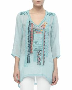 T79QA Johnny Was Collection Patchwork Trim Long Top