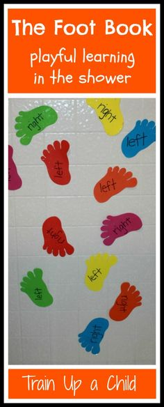 Dr. Seuss Inspired learning in the shower with The Foot Book.  A playful way to work on numbers, colors, matching, and left and right.