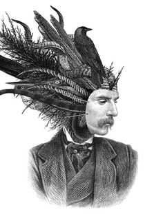 'Woodsman' by Dan Hillier A collage artist who like me incorporates varying specie into fantastical conglomerations- e. here a find feathered head gentleman! Illustration Arte, Illustrations, Victorian Illustration, Portrait Illustration, Dan Hillier, Art Of Dan, The Other Art Fair, Mc Escher, Mystique