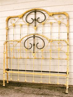 """Original """"Buttercup"""" paint finish from the Cast Iron Bed Frame, Cast Iron Beds, Wrought Iron Paint, Wrought Iron Beds, Cozy Bedroom, Bedroom Ideas, Master Bedroom, Iron Headboard, Headboards"""