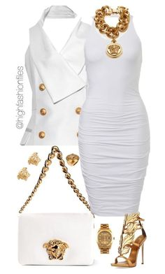 A fashion look from September 2015 featuring Balmain tops, Giuseppe Zanotti sandals und Versace shoulder bags. Browse and shop related looks. Lila Outfits, Mode Outfits, Classy Outfits, Chic Outfits, Sexy Outfits, White Fashion, Look Fashion, Womens Fashion, Fashion Trends