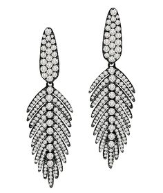 """Cellini Jewelers Sutra Jewels 18K Blackened Gold Mini Feather Drops Sutra Jewels mini feather drops with 2.44 carats of white diamonds, set in 18 karat blackened gold. Measuring Approximately 1.8""""L x 0.5""""W."""