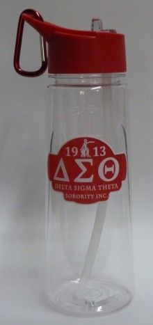 Delta Sigma Theta Water Bottle with Straw